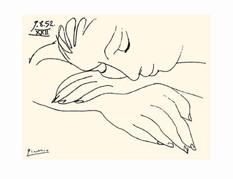 פיקסו אשה ישנה רישום